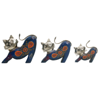Wood And Iron Cat Set Of 3