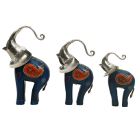 Wood And Iron Elephant Set Of 3