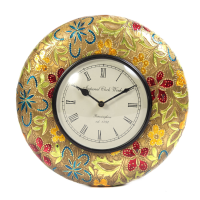 Wooden & Brass Handicrafts Colorful Wall Clock As Showpiece