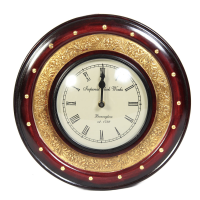 Wooden & Brass Round Handmade Wall Clock As Showpiece