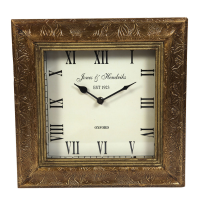Wooden and brass squared wall clock