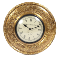Wooden & Brass Handmade Wall Clock Online As Indian Gifts