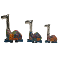 Wooden And Iron Camel Set Of 3