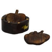 Wooden apple designed tea coasters