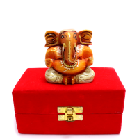 Wooden Ganesh Idol In White Colour