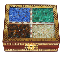 Wooden gemstone rectangular box