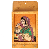 Wooden keyholder with gemstone painting