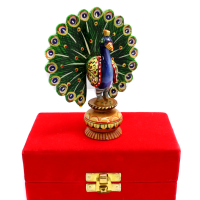 Wooden Peacock For Decoration With Meena Work