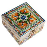 Wooden Square Shaped Box with Meenakari Work For Return Gift