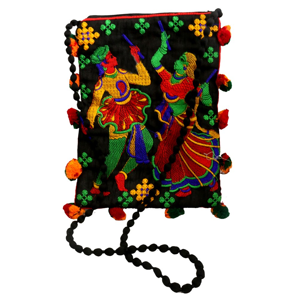 Tiny Mobile Holder Purse With Detailed Rajasthani Men & Women Dancing Emroidery