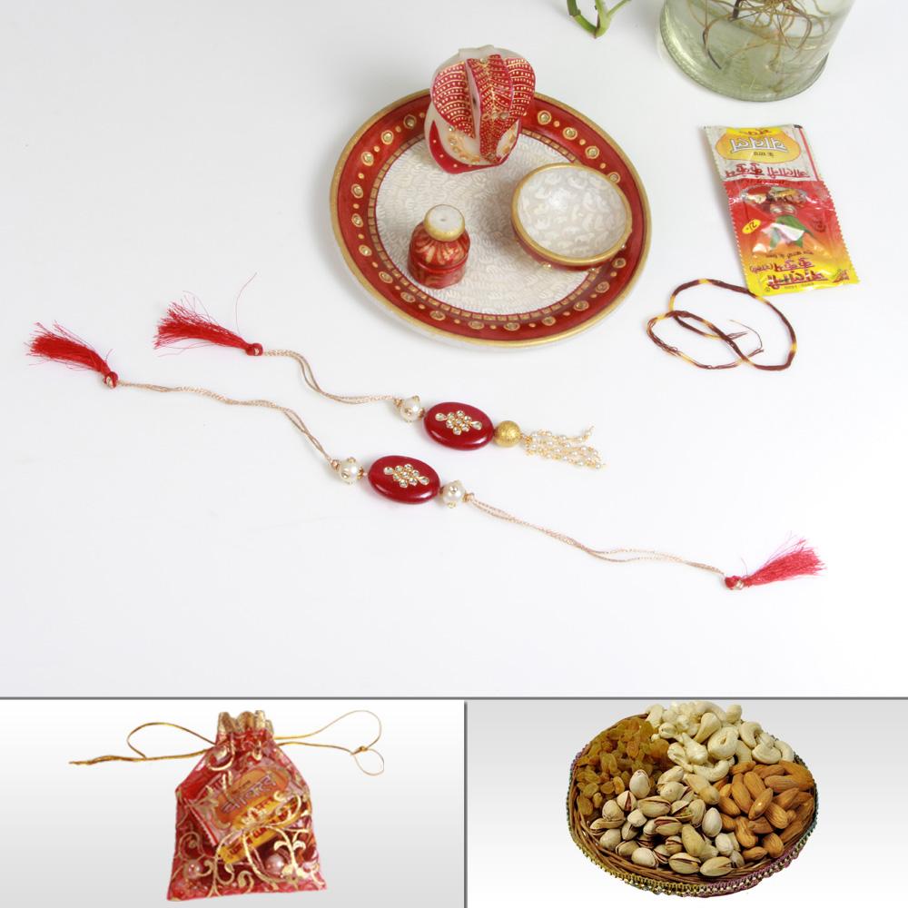 Traditional marble pooja thali, bhaiya bhabhi rakhi & dry fruits