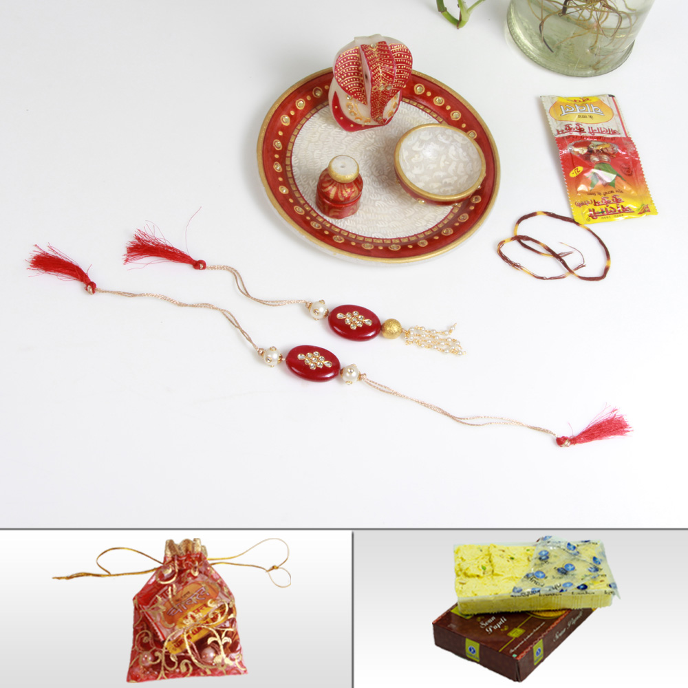 Online Rakhi For Brother With Traditional Marble Pooja Thali, Sweets