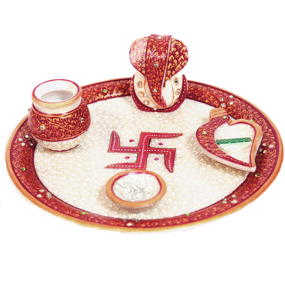 Ganesha Marble Meenakari Traditional Pooja Thali Online