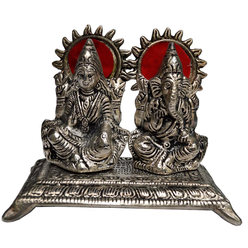 Twin Laxmi Ganesh Idols in Oxidized Metal
