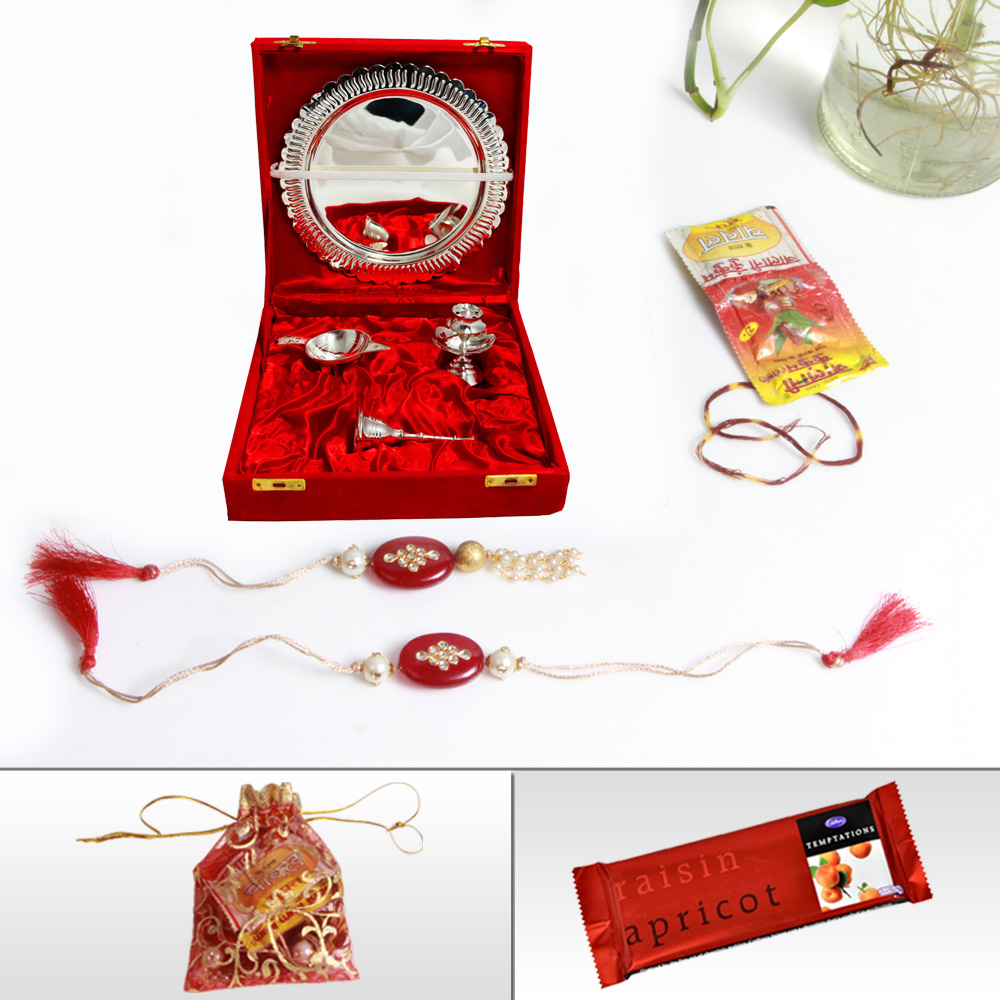 Marble Thali with Double Diya for Rakhi