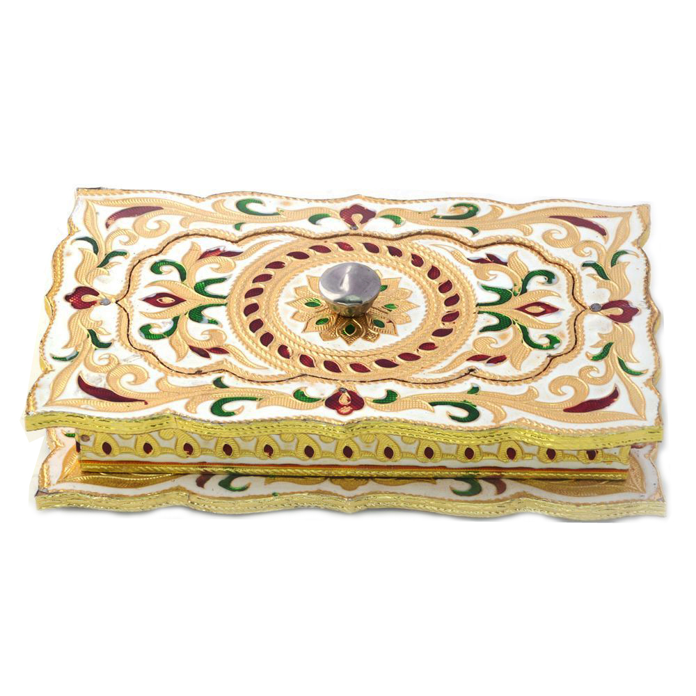 White colored metal dryfruit meenakari box
