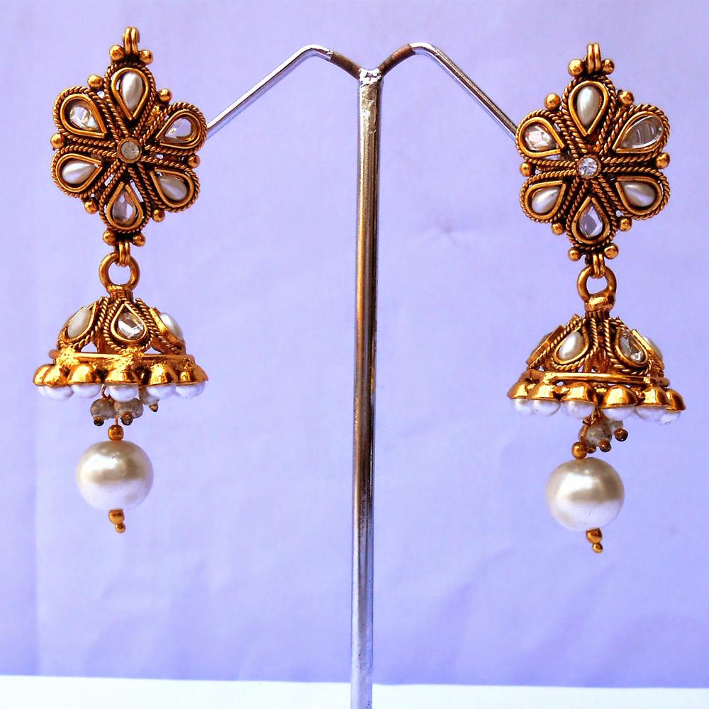 White kundan jhumki earrings
