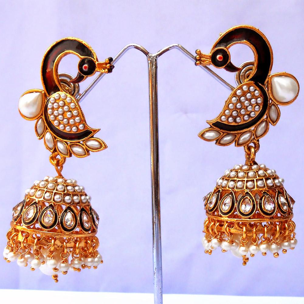 White peacock shaped earrings