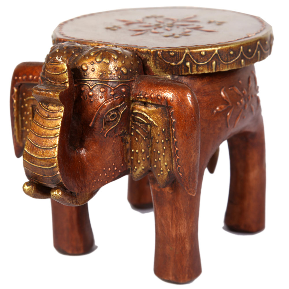 Wooden Crafted elephant Carved Side Table For Living Room