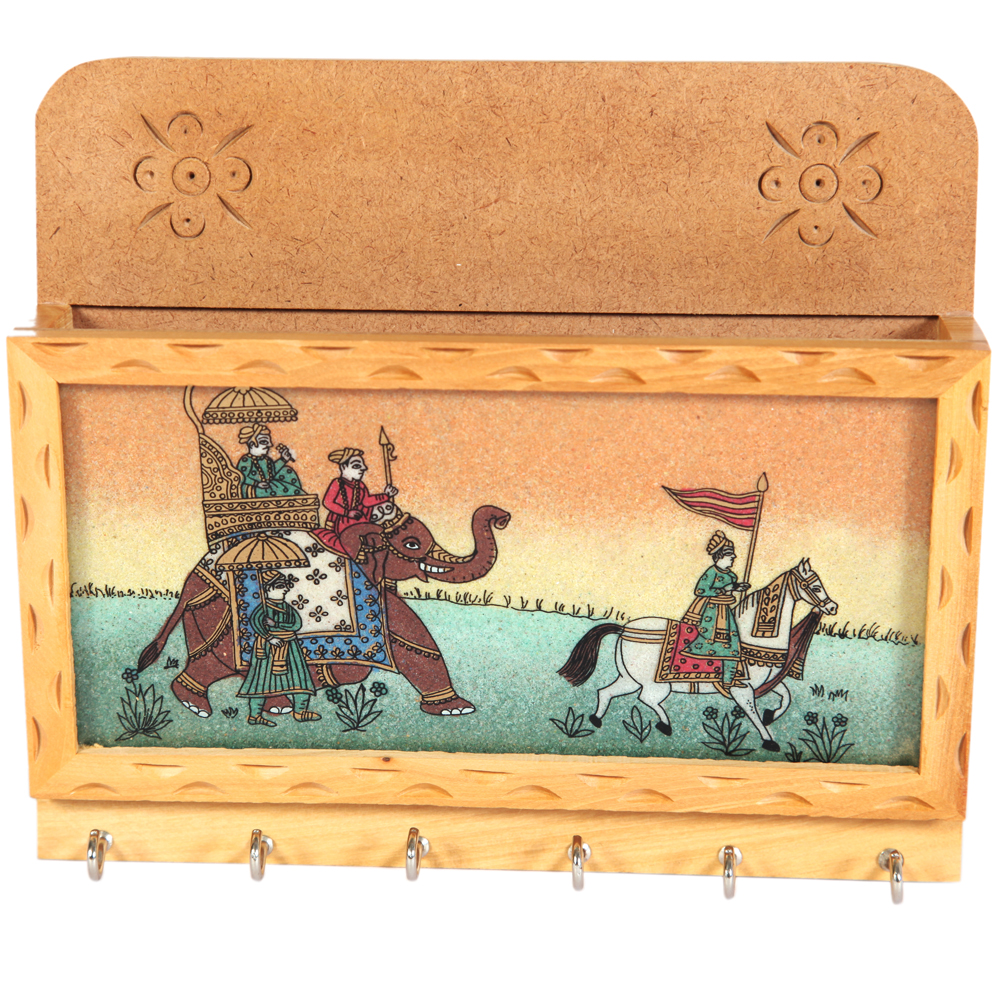 Wooden keyholder with elephant and horse painted in gemstone