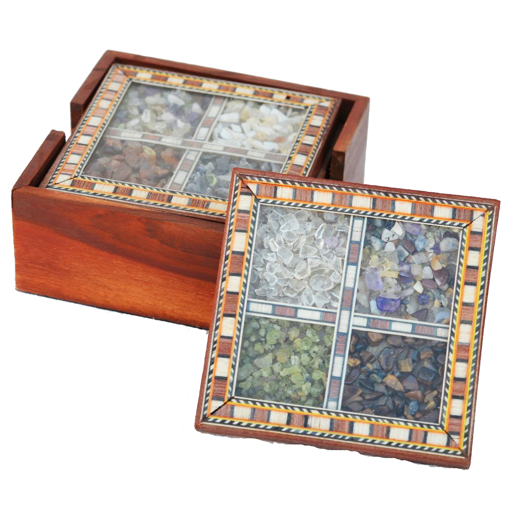 Wooden Tea Coasters With Gemstones- The Perfect Way To Welcome Guests
